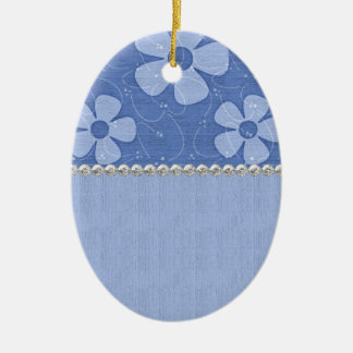 Shades of Blue Flowers Ceramic Egg Shape Ceramic Oval Decoration