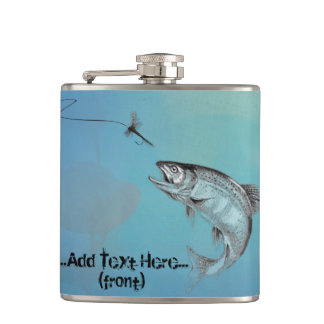 Shades of Blue Fly Casting with Leaping Trout Flask