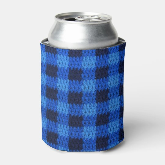 Shades of Blue Gingham Plaid Crochet Can Cooler