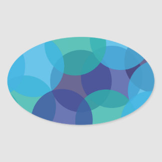 Shades of Blue & Green Oval Sticker
