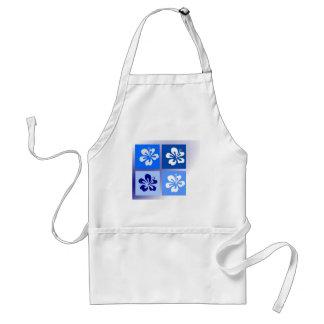 shades of blue hibiscus design apron