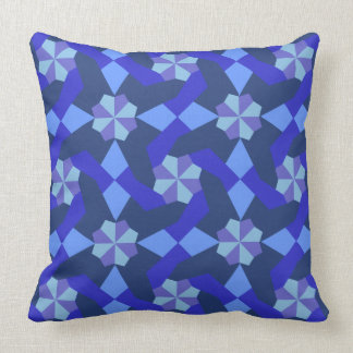 Shades of Blue Intricate Patchwork Design Cushion