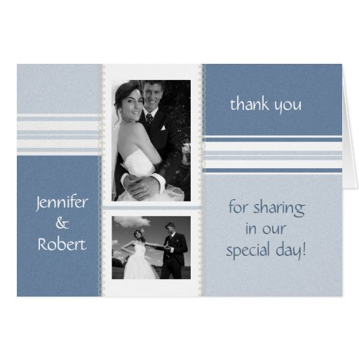 Shades of Blue Photo Thank You Card