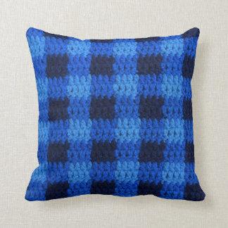 Shades of Blue Plaid Texture Crochet Cushion