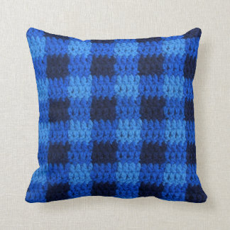 Shades of Blue Plaid Texture Crochet Throw Pillow