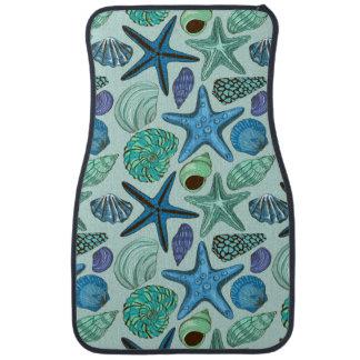 Shades Of Blue Seashells And Starfish Pattern Car Mat