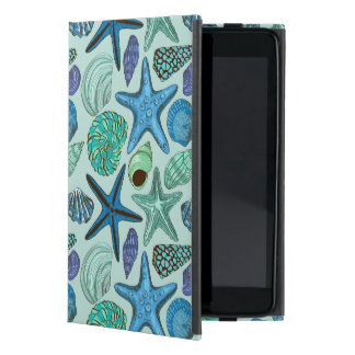 Shades Of Blue Seashells And Starfish Pattern Cover For iPad Mini