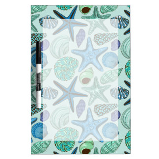 Shades Of Blue Seashells And Starfish Pattern Dry Erase Board