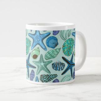 Shades Of Blue Seashells And Starfish Pattern Giant Coffee Mug