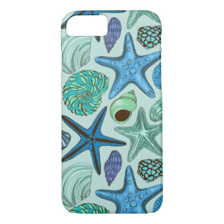 Shades Of Blue Seashells And Starfish Pattern iPhone 8/7 Case