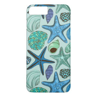 Shades Of Blue Seashells And Starfish Pattern iPhone 8 Plus/7 Plus Case