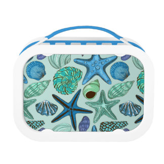 Shades Of Blue Seashells And Starfish Pattern Lunch Box