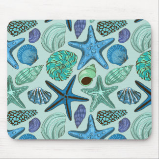 Shades Of Blue Seashells And Starfish Pattern Mouse Mat