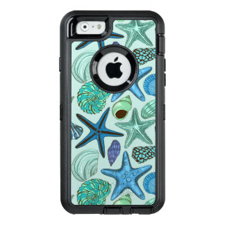 Shades Of Blue Seashells And Starfish Pattern OtterBox Defender iPhone Case