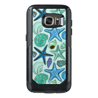Shades Of Blue Seashells And Starfish Pattern OtterBox Samsung Galaxy S7 Case