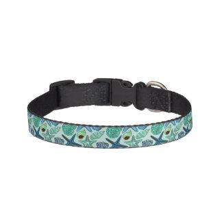 Shades Of Blue Seashells And Starfish Pattern Pet Collar
