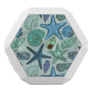 Shades Of Blue Seashells And Starfish Pattern White Bluetooth Speaker