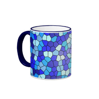 Shades Of Blue Stained Glass Ringer Coffee Mug