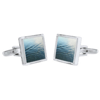 Shades of Blue Water Abstract Nature Photography Silver Finish Cufflinks