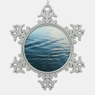 Shades of Blue Water Abstract Nature Photography Snowflake Pewter Christmas Ornament