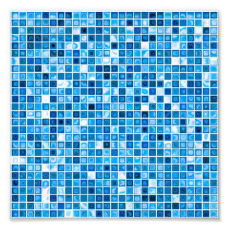 Shades Of Blue Watery Mosaic Tiles Pattern Photo Art