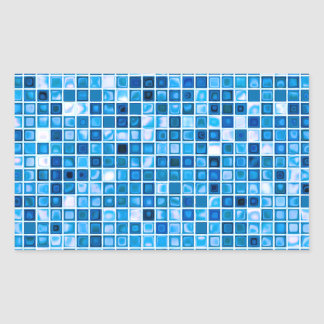 Shades Of Blue 'Watery' Mosaic Tiles Pattern Rectangular Sticker