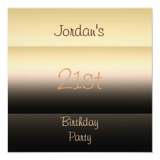 Shades of Brown 21st Birthday Party 13 Cm X 13 Cm Square Invitation Card
