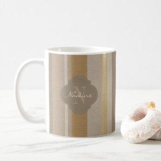 Shades of brown leather stripe coffee mug