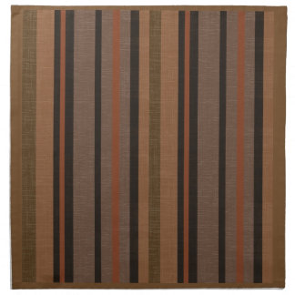 Shades of Brown Linen Look Striped Pattern Napkin