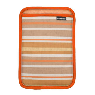 Shades of Burnt Orange and White Linen Look Stripe iPad Mini Sleeve