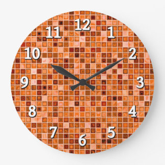 Shades Of Copper 'Watery' Mosaic Tile Pattern Large Clock