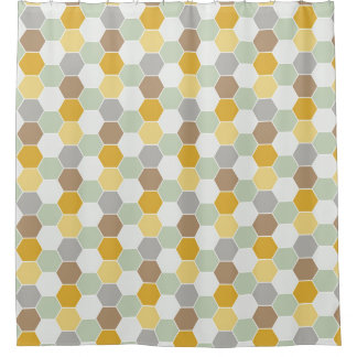 Shades of Gold, White, Gray Honeycomb Pattern Shower Curtain