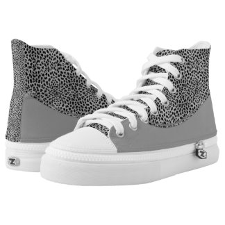 Shades of Gray and Silver Cheetah Print High Tops