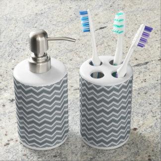 Shades of Gray Chevron Striped Bath Set