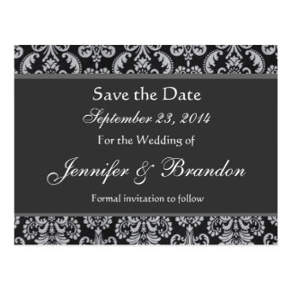 Shades of Gray Damask Save The Date Postcard