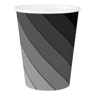 Shades of Gray Stripes Pattern Elegant Paper Cup