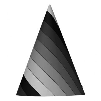 Shades of Gray Stripes Pattern Elegant Party Hat