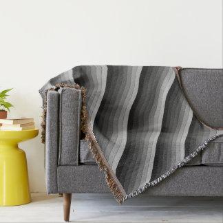 Shades of Gray Stripes Pattern Elegant Throw Blanket
