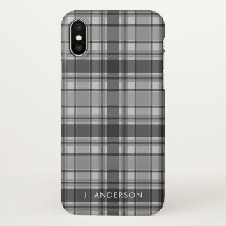 Shades of Gray Tartan Plaid iPhone X Case