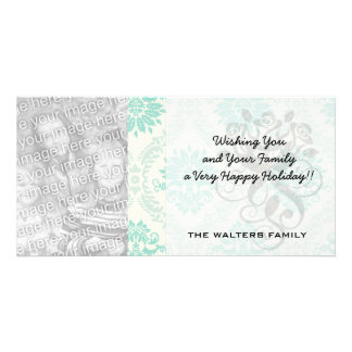 shades of green and ivory damask design picture card
