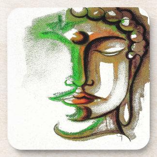 SHADES OF GREEN BUDDHA 2 Plastic Coasters Set of 6