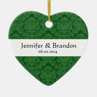 SHADES OF GREEN Damask Wedding Ornament