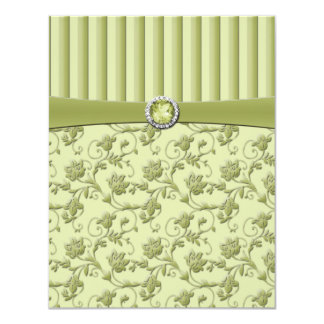 Shades of Green Floral Stripe R.S.V.P. Card 11 Cm X 14 Cm Invitation Card