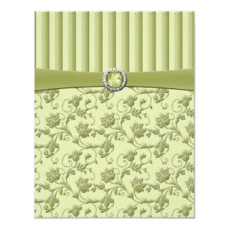 Shades of Green Floral Stripe R.S.V.P. Card 11 Cm X 14 Cm Invitation Card