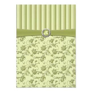 Shades of Green Floral Stripe Wedding Invitation