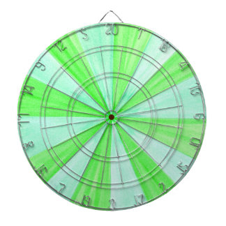 Shades of Green Geometric Spokes Pattern DartBoard