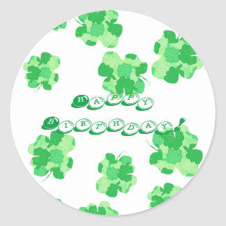 Shades of Green Happy Birthday Shamrock Stickers