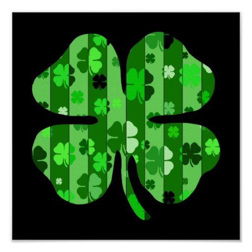 shades of green shamrock striped.png poster