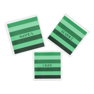 Shades Of Green Stripes Pattern Personalized Name