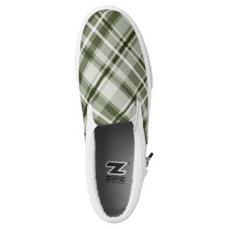shades of green tartan pattern printed shoes
